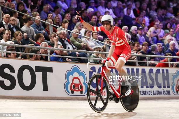 Michael Morkov of Denmark celebrates after winning Men's Madison during day 5 of the UCI Track Cycling World Championships Berlin at Velodrom on...