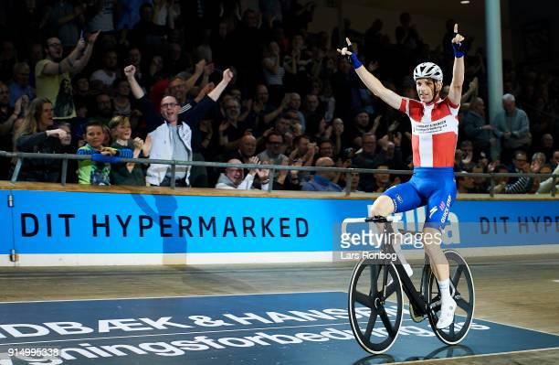 Michael Morkov of Denmark celebrates during day six of the Bilka Six Day Copenhagen bike race at Ballerup Super Arena on February 6 2018 in...
