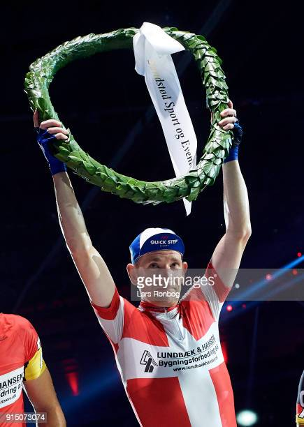 Michael Morkov of Denmark celebrating the victory of the race after day six of the Bilka Six Day Copenhagen bike race at Ballerup Super Arena on...