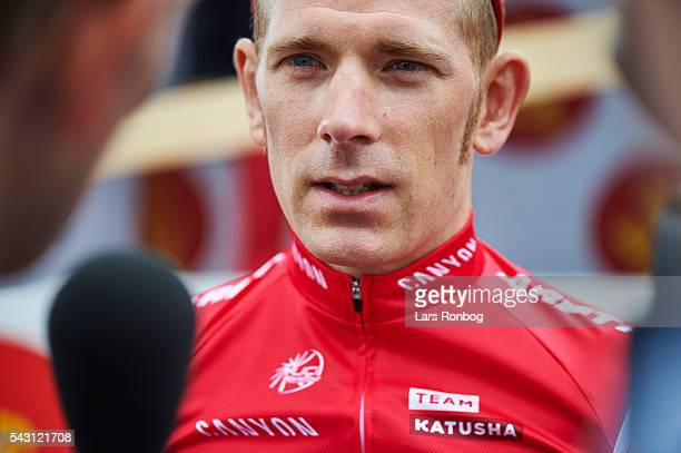 Michael Morkov of Team KATUSHA speaks to the media prior to the Elite Men Road Race Championships on day three of the Danish Cycling Championships on...