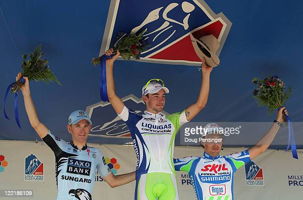 Michael Morkov of the Netherlands riding for Saxo Bank Sungard in second place Elia Viviani of Itay riding for LiquigasCannondale in first place and...