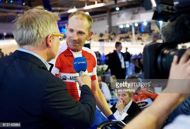 Michael Morkov speaks to TV2 Sporten during the Bilka Six Day Copenhagen bike race at Ballerup Super Arena on February 1 2018 in Copenhagen Denmark