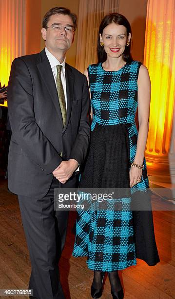 Michael Morley chief executive officer of Coutts Co left and fashion designer Roksanda Ilinic attend the Walpole Awards at the Whitehall Banqueting...