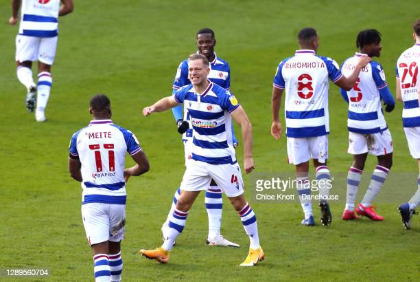 Michael Morrion of Reading celebrates scoring his teams second goal during the Sky Bet Championship match between Reading and Nottingham Forest at...