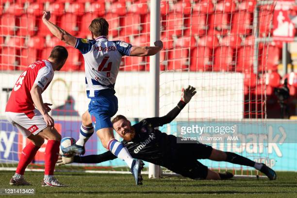 Michael Morrison of Reading scores a goal to make it 0-1 during the Sky Bet Championship match between Rotherham United and Reading at AESSEAL New...