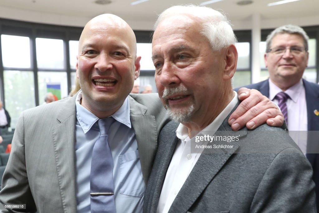 Michael Morsch and Gerd Meyer during the awarding ceremony of Hermann-Neuberger-Award on May 19, 2017 in Saarbruecken, Germany.