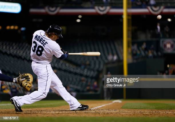 Michael Morse of the Seattle Mariners hits a solo home run in the eighth inning against the Houston Astros at Safeco Field on April 9, 2013 in...