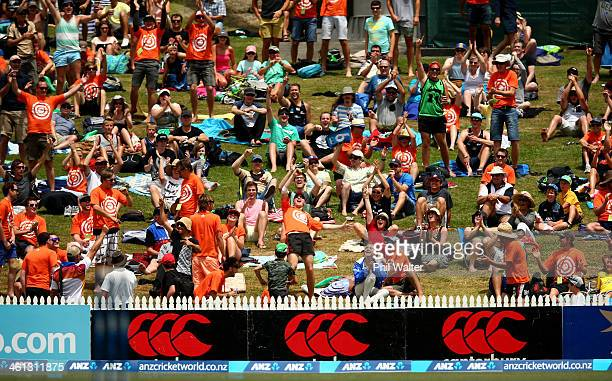 Michael Morton celebrates his one handed catch to win $100000 during game five of the One Day International Series between New Zealand and the West...