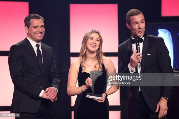 Michael Mronz and GinaMaria Schumacher daughter of of Michael Schumacher and Kai Pflaume during the Audi Generation Award 2017 at Hotel Bayerischer...
