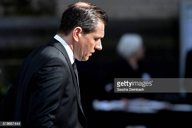 Michael Mronz arrives for the memorial commemoration for his husband and late German politician Guido Westerwelle at the Sankt Aposteln Kirche church...