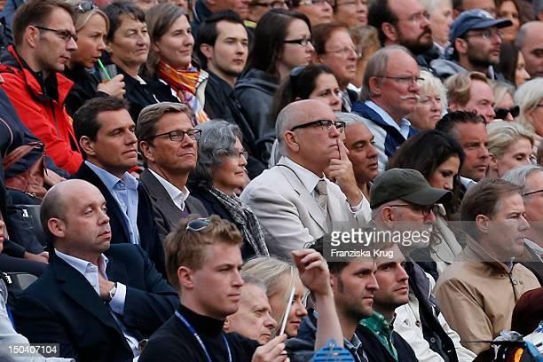 Michael Mronz Guido Westerwelle Nicoletta Peyran and her husband John Malkovich attend the 'Seefestspiele' Open With Carmen in the Wannseebad on...