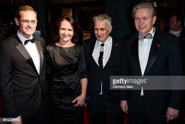 Michael Mueller, Claudia Mueller, Joern Kubicki and Klaus Wowereit attend the 21st Aids Gala at Deutsche Oper Berlin on January 10, 2015 in Berlin,...