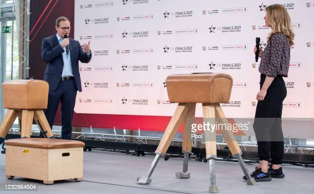 Michael Mueller, Governing Mayor of Berlin, and moderator Jessy Wellmer give a press conference on the sports event Die Finals 2021 Berlin -...