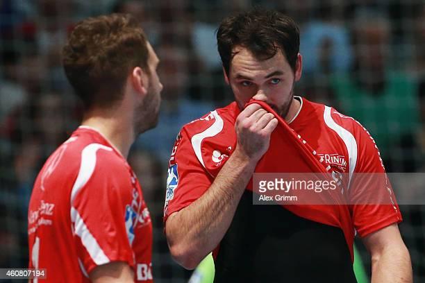Michael Mueller of Melsungen reacts during the DKB Handball Bundesliga match between MT Melsungen and SG FlensburgHandewitt at RothenbachHalle on...