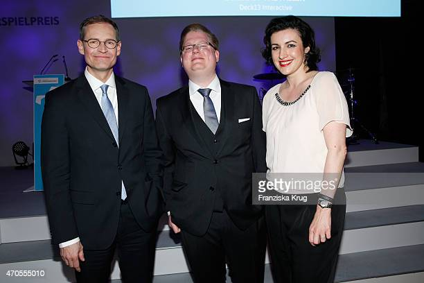 Michael Mueller Peter Smits and Dorothee Baer attend the German Computer Games Award 2015 at eWerk on April 21 2015 in Berlin Germany