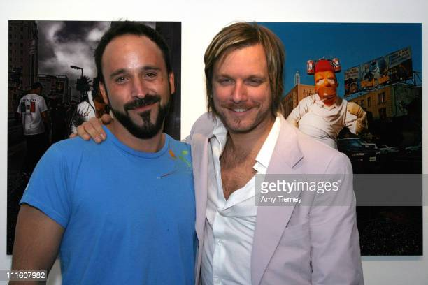 Michael Muller and Kelly Cole during Michael Muller's Photographs Featured at Opening of LoFi Gallery at LoFi Gallery in Los Angeles California...