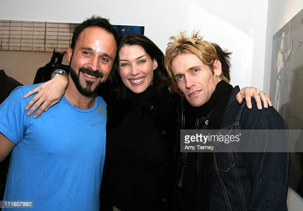 Michael Muller Mitzi Martin and Josh Todd during Michael Muller's Photographs Featured at Opening of LoFi Gallery at LoFi Gallery in Los Angeles...