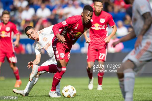 Michael Murillo of New York Red Bulls challenged by Miguel Almiron of Atlanta United during the New York Red Bulls Vs Atlanta United FC MLS regular...