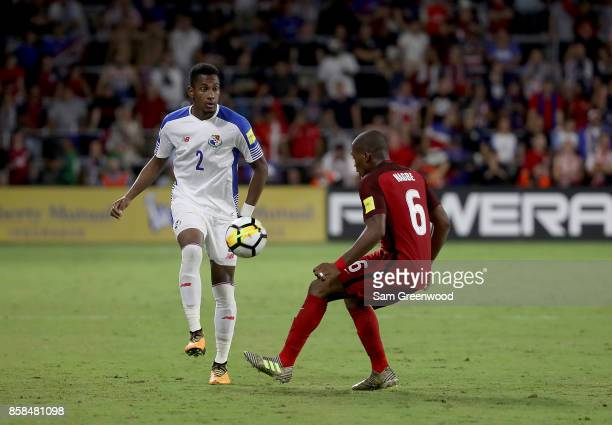 Michael Murillo of Panama looks to make a pass during the final round qualifying match against the United States for the 2018 FIFA World Cup at...