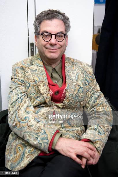 Michael Musto poses backstage at The Blonds fashion show during New York Fashion Week The Shows at Spring Studios on February 13 2018 in New York City