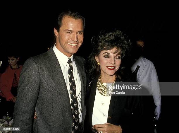 Michael Nader and Joan Collins during 'Dynasty' Celebrates 9th Season 200th Episode at ABC Studios in Los Angeles California United States