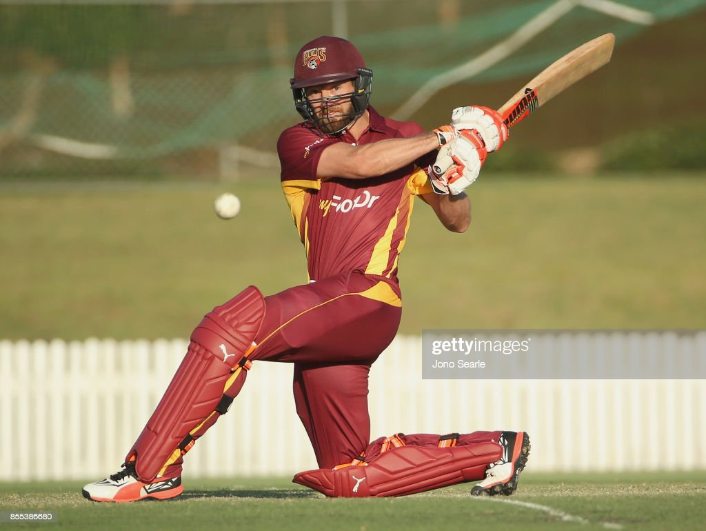 Michael Naser of QLD makes a shot during the JLT One Day Cup match between Queensland and the Cricket Australia XI at Allan Border Field on September 29, 2017 in Brisbane, Australia.