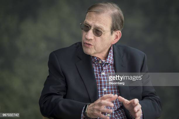 Michael Neidorff chairman and chief executive officer of Centene Corp speaks during a Bloomberg Television interview at the Allen Co Media and...