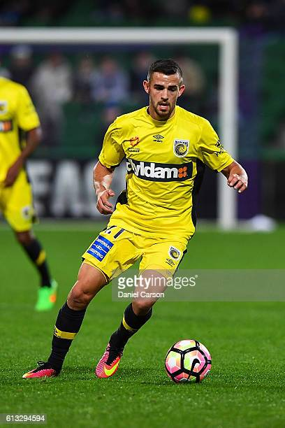 Michael Neill of the Central Coast Mariners in control over the ball during the round one ALeague match between the Perth Glory and the Central Coast...