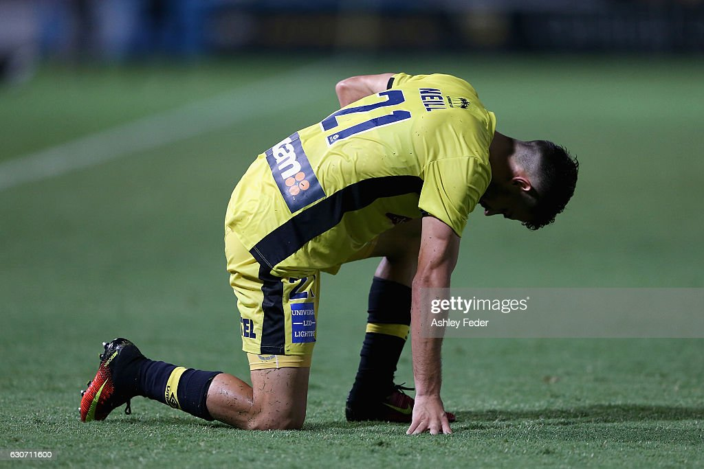 Michael Neill of the Mariners looks dejected after drawing to Melbourne City during the round 13 A-League match between the Central Coast Mariners and Melbourne City at Central Coast Stadium on December 31, 2016 in Gosford, Australia.