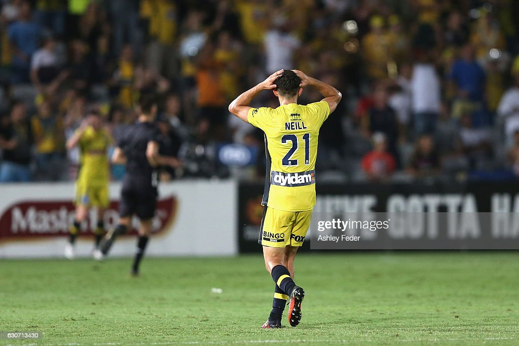 Michael Neill of the Mariners reacts to a near miss at goal during the round 13 A-League match between the Central Coast Mariners and Melbourne City at Central Coast Stadium on December 31, 2016 in Gosford, Australia.