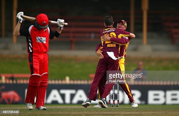 Michael Neser and Peter Forrest of the Bulls celebrates after taking the wicket of Callum Ferguson of the Redback during the Matador BBQs One Day Cup...
