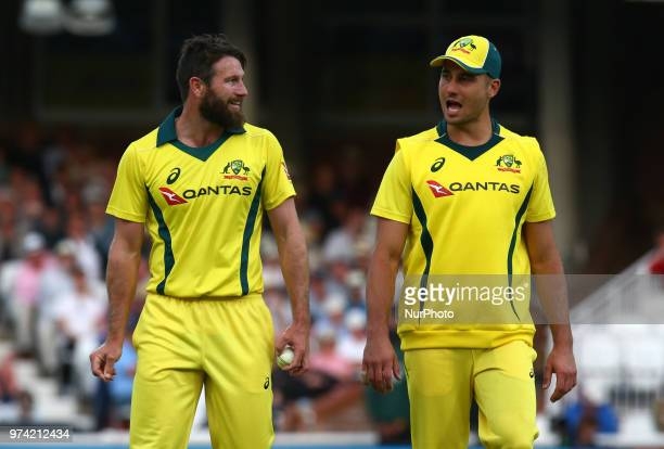 LR Michael Neser of Australia and Marcus Stoinis of Australia during One Day International Series match between England and Australia at Kia Oval...