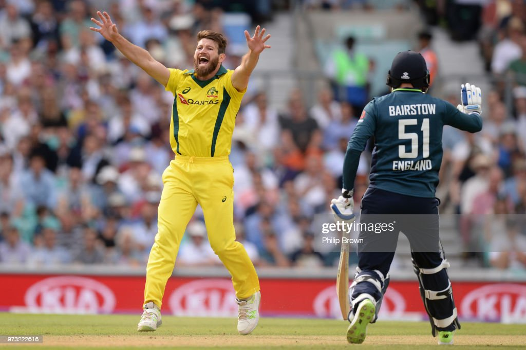 Michael Neser of Australia appeals and dismisses Alex Hales of England during the first Royal London One-Day International match between England and Australia at the Kia Oval on June 13, 2018 in London, England.