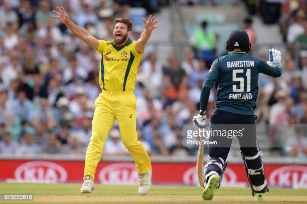 Michael Neser of Australia appeals and dismisses Alex Hales of England during the first Royal London OneDay International match between England and...