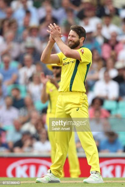 Michael Neser of Australia applauds fielding off his own bowling during the 1st Royal London ODI between England and Australia at The Kia Oval on...