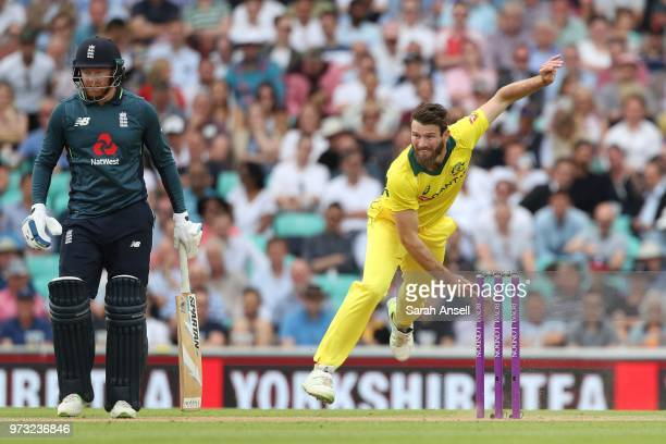Michael Neser of Australia bowls as England's Jonny Bairstow looks on during the 1st Royal London ODI between England and Australia at The Kia Oval...