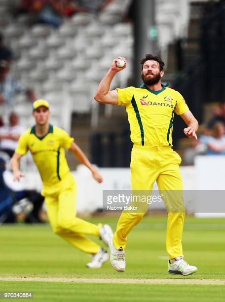 Michael Neser of Australia catches the ball to dismiss Nick Gubbins of Middlesex during the Middlesex and Australia Tour Match at Lord's Cricket...