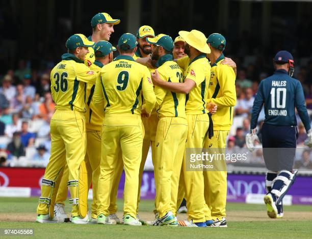 Michael Neser of Australia celebrate LBW on England's Alex Hales during One Day International Series match between England and Australia at Kia Oval...