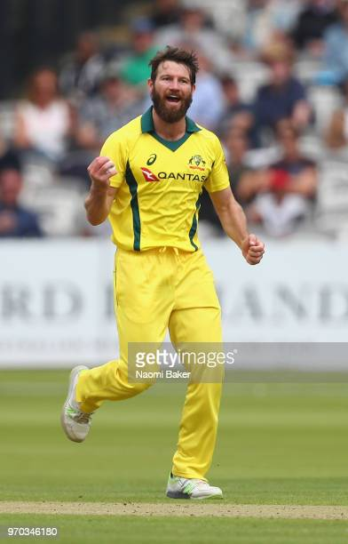 Michael Neser of Australia celebrates after he catches the ball to dismiss Nick Gubbins of Middlesex during the Middlesex and Australia Tour Match at...