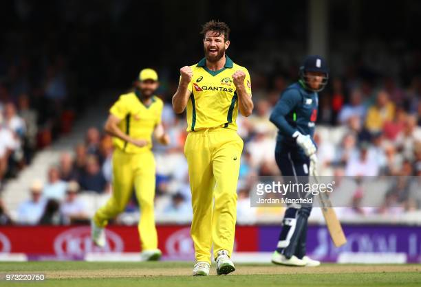 Michael Neser of Australia celebrates dismissing Alex Hales of Engalnd during the 1st Royal London ODI match between England and Australia at The Kia...