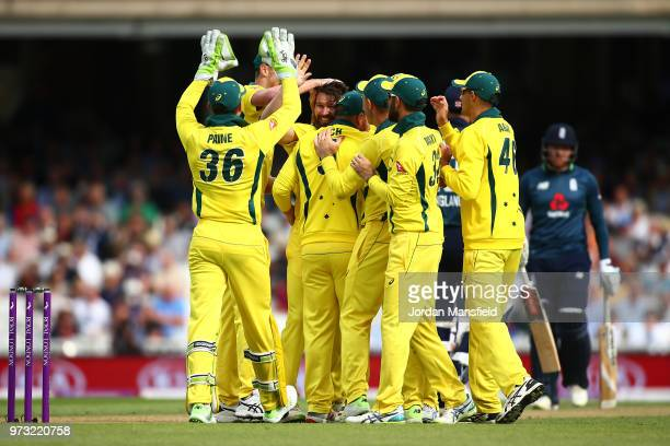 Michael Neser of Australia celebrates with his teammates after dismissing Alex Hales of Engalnd during the 1st Royal London ODI match between England...