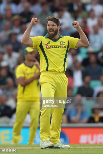 Michael Neser of Australia celebrates with teammates after dismissing England's Moeen Ali of England of Australia during the 1st Royal London ODI...