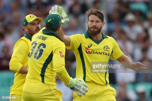 Michael Neser of Australia celebrates with teammates after dismissing England's Moeen Ali during the 1st Royal London ODI between England and...