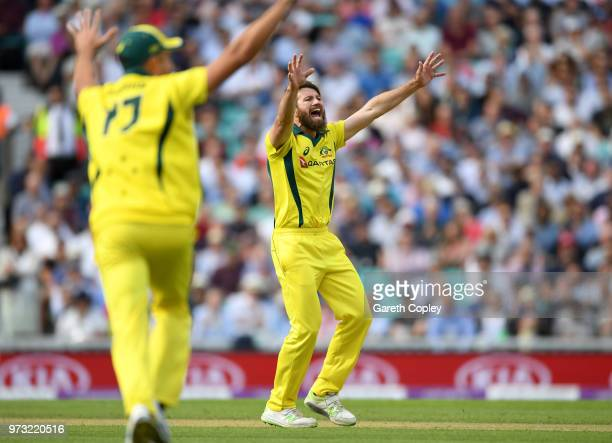 Michael Neser of Australia successfully appeals for the wicket of Alex Hales of England during the 1st Royal London ODI match between England and...