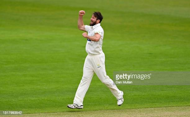 Michael Neser of Glamorgan celebrates taking the wicket of Harry Brook of Yorkshire during day two of the LV= County Championship match between...