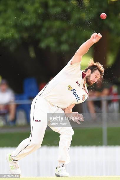 Michael Neser of Queensland bowls during day three of the Sheffield Shield Final match between Queensland and Tasmania at Allan Border Field on March...