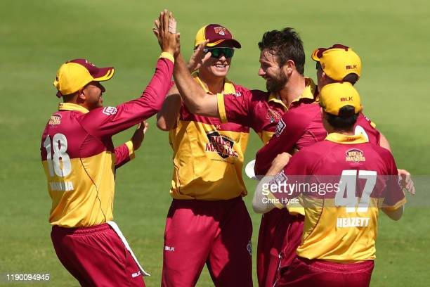 Michael Neser of Queensland celebrates after taking the wicket of D'Arcy Short during the Marsh One Day Cup Final between Queensland and Western...