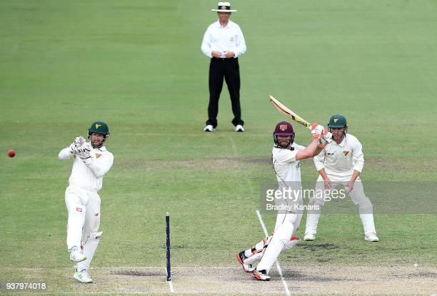 Michael Neser of Queensland plays a shot during day four of the Sheffield Shield Final match between Queensland and Tasmania at Allan Border Field on...