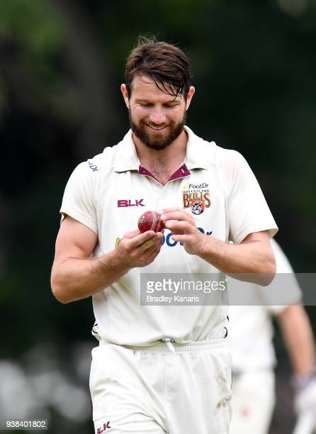 Michael Neser of Queensland prepares to bowl during day five of the Sheffield Shield final match between Queensland and Tasmania at Allan Border...