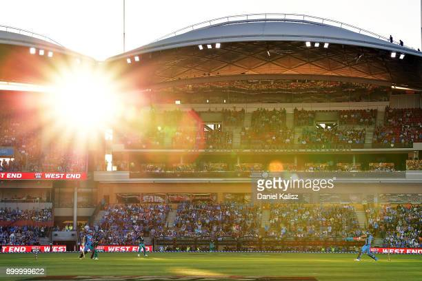 Michael Neser of the Adelaide Strikers bats during the Big Bash League match between the Adelaide Strikers and the Brisbane Heat at Adelaide Oval on...